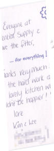 Thanks very much for all the hard work and our lovely kitchen we couldn't be happier! — Kim & Lee